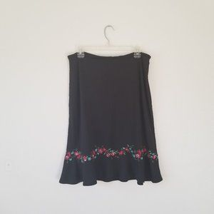 Ann Taylor Rayon Embroidered Floral Black Skirt